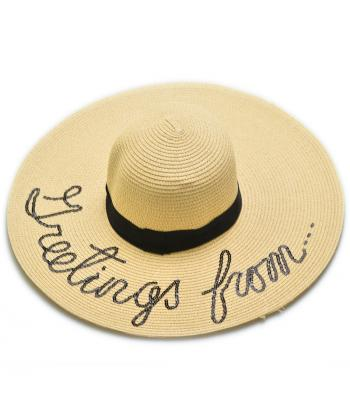 бежевая шляпа с широкими плями