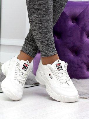белые кроссовки фила на массивной подошве