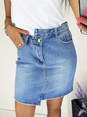 голубая джинсовая юбка, стильная юбка