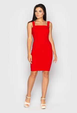 романтическое красное платье, джинсовое платье на широких бретелях