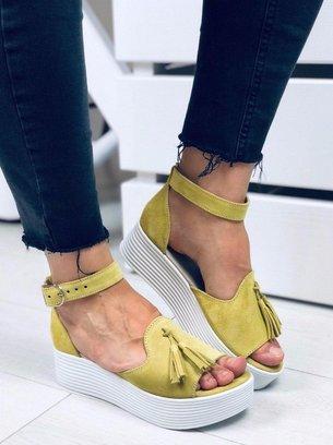 лимонные босоножки
