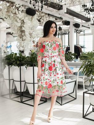 платье с вышивкой большого размера, нарядное платье