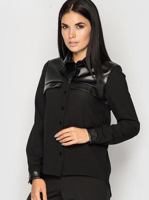 черная блузка, стильная блузка, блузка из экокожи, черная рубашка