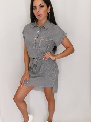 модные платья рубашки в полоску