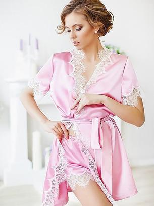набор халат и шорты розового цвета