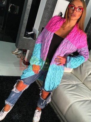 трехцветный вязаный кардиган, модный кардиган