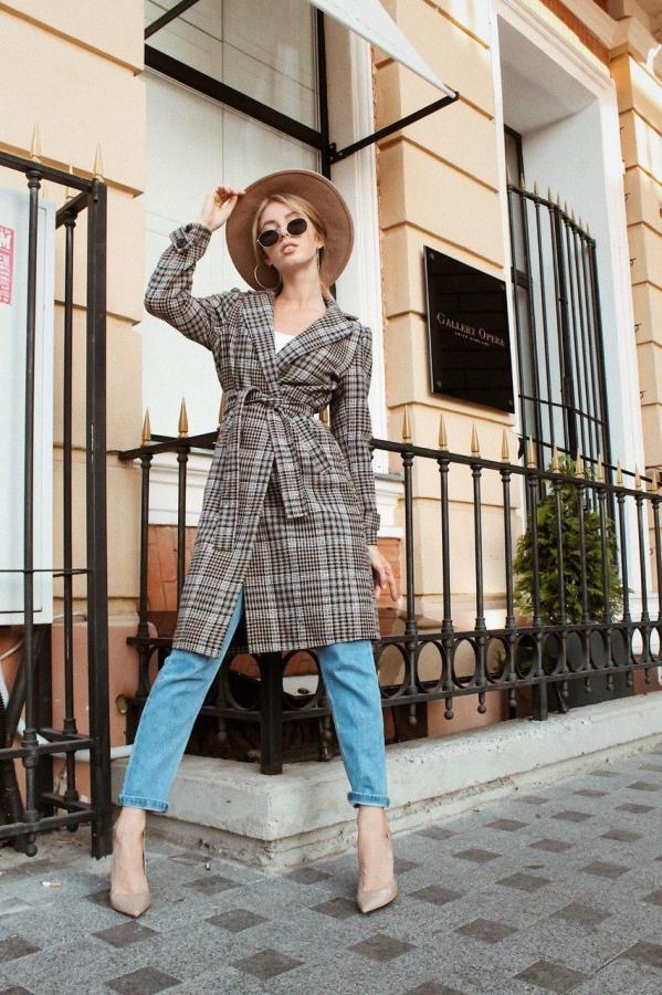 клетчастое пальто, модное пальто