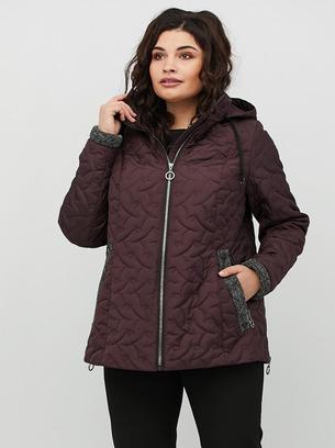 Короткая стеганная куртка большие размеры цвета  бордо,лиловый
