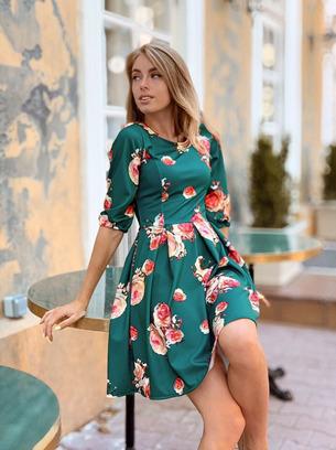 модные платья женские, платье в цветочный принт