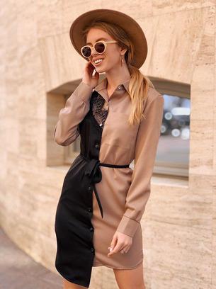 модное платье рубашка, платье рубашка из креп-костюмки