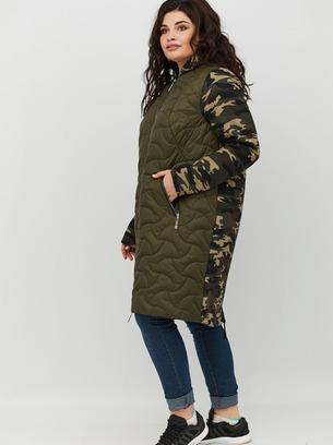 Кардиган пальто большой размер хаки серый