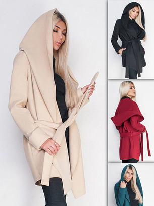 модное пальто женское с капюшоном