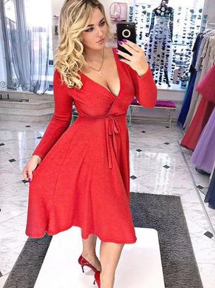 красное платье, черное платье на запах