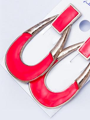 большие серьги, красные сережки