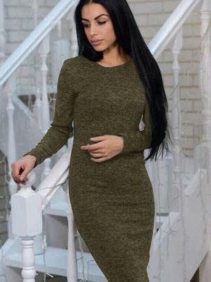 платье ангоровое, платье миди