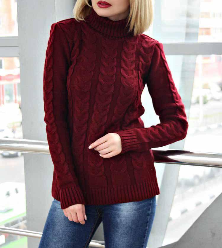 Женский свитер вязанный под горло, модный молод ...