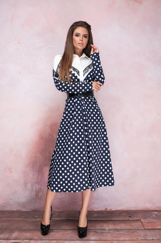 модные платья в горошек