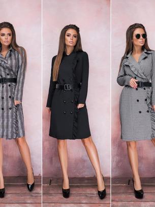 модные платья женские, платье в клетку