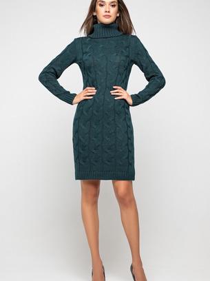 синее вязаное платье лало, платье с крупной вязкой