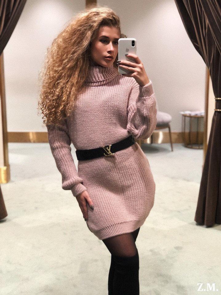 Стильное теплое вязаное платье свитер, Платье зимн ...