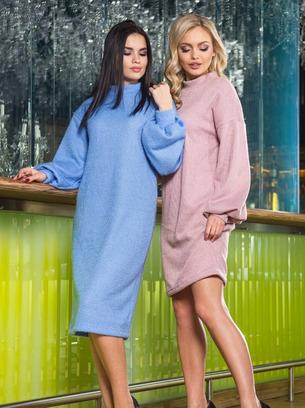 голубое вязаное платье, розовое вязаное платье