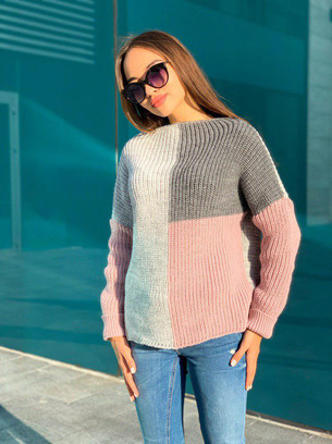 трехцветные свитера женские