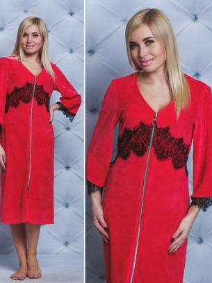 красный халат на змейке с черным кружевом