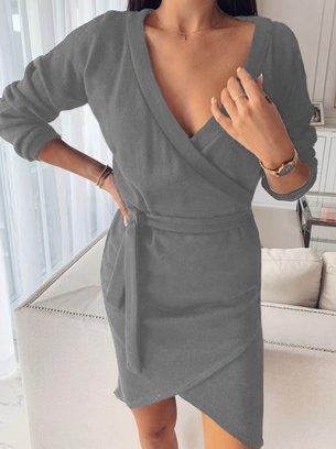 теплое платье, платье на запах