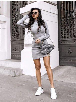 ангоровое платье, стильное платье
