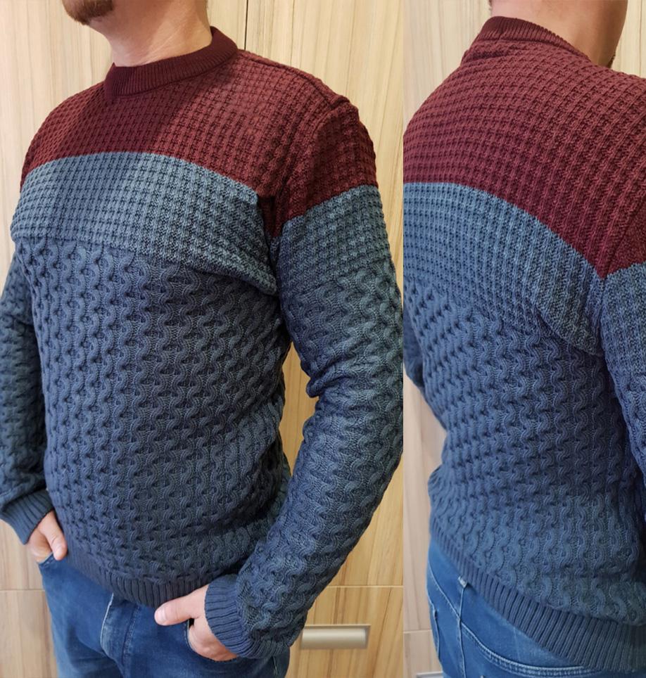 Стильный двухцветный теплый мужской свитер с кругл ...