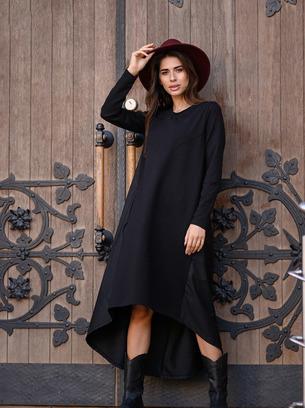 модное длинное черное платье