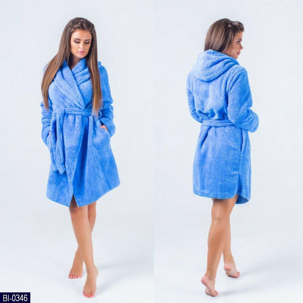 Женский теплый махровый халат с капюшоном