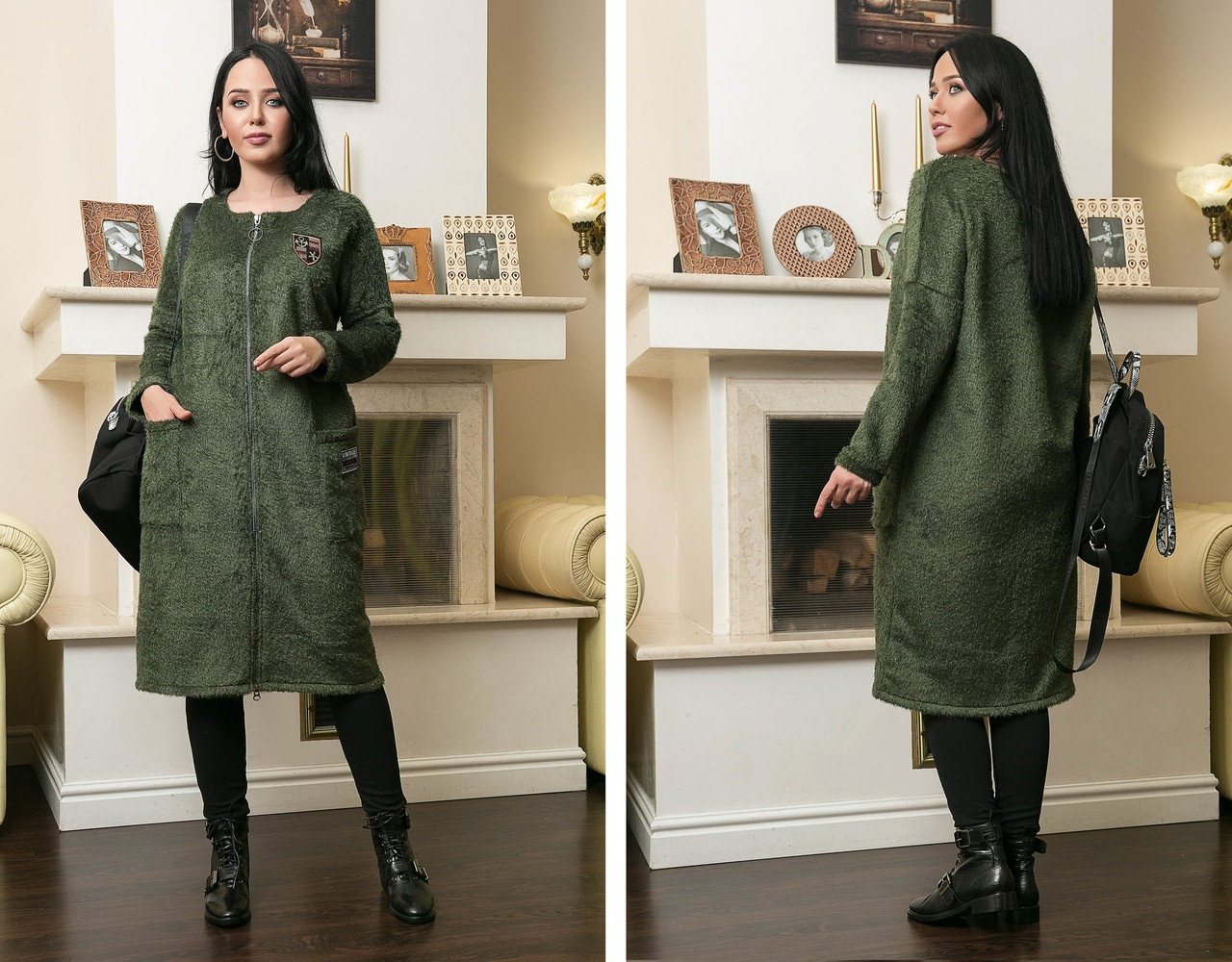 Женское стильное пальто на застежке больших размеров