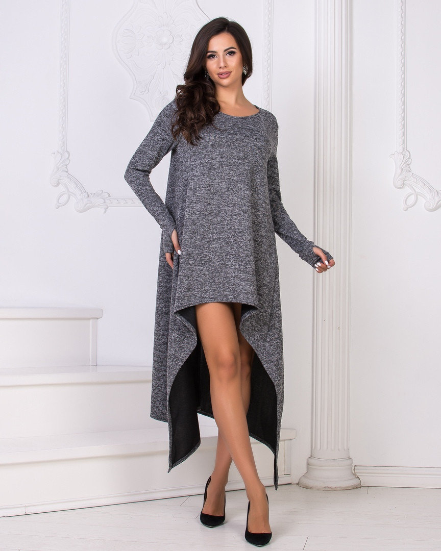 Модное ассиметричное женское платье из ангоры