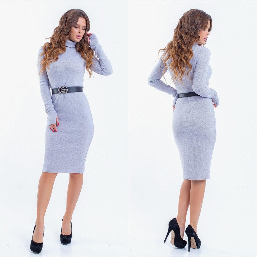 Стильное женское платье вязка
