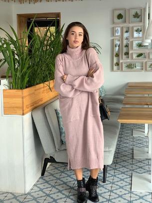 Стильное женское длинное теплое женское платье