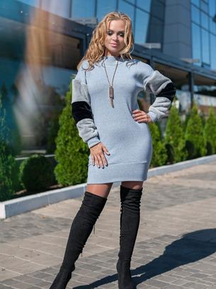 теплое женское платье с меховыми рукавами больших размеров