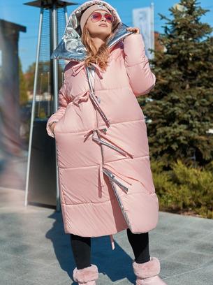 модное двустороннее батальное женское пальто