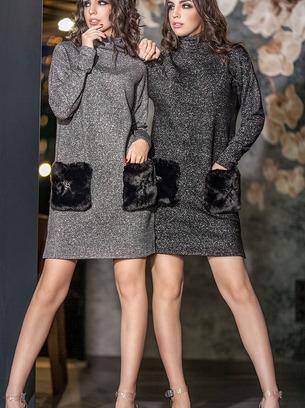 Стильное женское платье с карманами из искусственного меха кролика