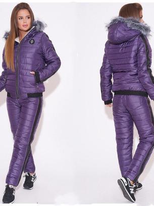 Зимний женский дутый спортивный костюм