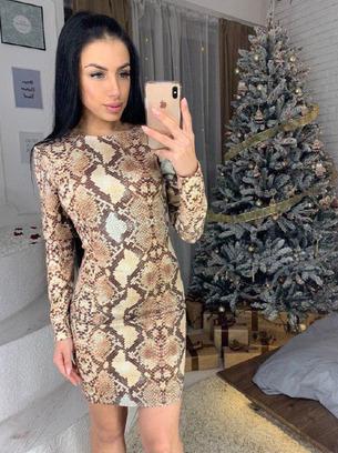 Модное женское платье с животным принтом