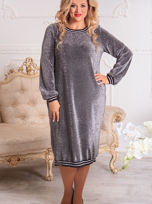 Нарядное батальное женское платье с люрексом