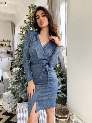 Стильное нарядное женское платье с пояском