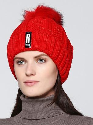 Женская теплая зимняя шапка с меховым помпоном