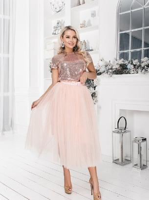 Шикарный женский костюм в пайетку блузка+юбка