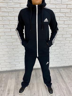 Очень теплый модный мужской спортивный костюм