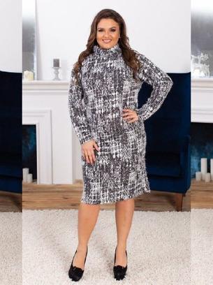 Пушистое мягенькое женское платье больших размеров