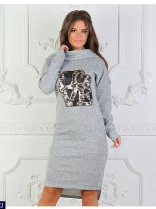 Стильное теплое батальное женское платье