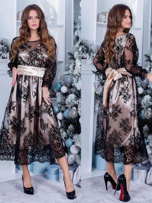 Женское коктейльное платье миди с резинкой на талии