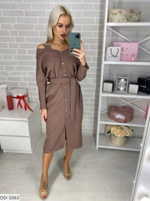 Стильное женское платье на пуговицах с пояском